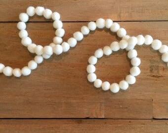 1cm Continuous Cream Wool Felt Ball Garland