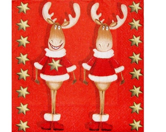 Set of 3 NOE128 funny reindeer paper napkins