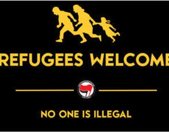 STICKER: Refugees Welcome No One Is Illlegal (red and black antifa flags)