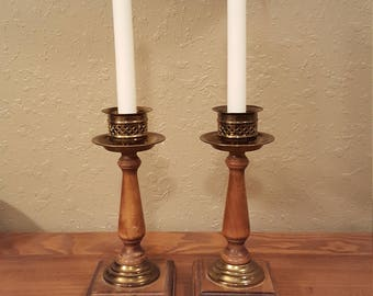 Vintage wood and brass candlestick set.   Pair of large boho, eclectic candlesticks.