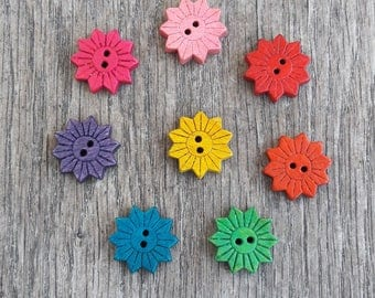 Set of 5 wooden buttons, 20mm, flowers, orange, pink, yellow, Fuchsia, green, blue, red, purple / / ID no. 24 + N25