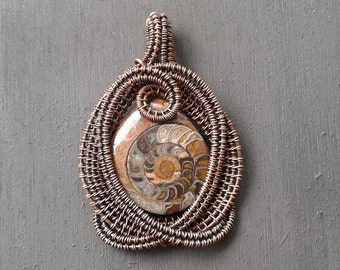 Copper wire wrapped ammonite pendant-Ammonite fossil