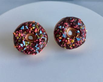 Chocolate Donut Stud Earrings