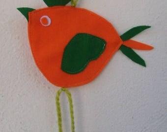 Easter decorations felt orange and green houndstooth