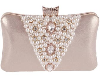 Gold Pearl and Crystal Wedding, Bridal, Evening, Formal Party Clutch Bag
