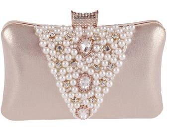 Gold Pearls and Crystals Wedding Clutch, Bridal Bag, Evening Clutch, Formal Party Clutch Bag