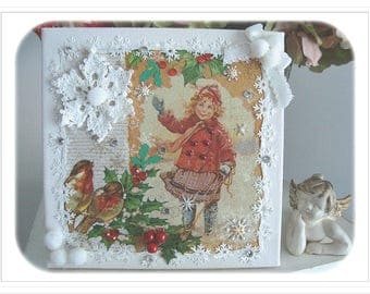 "Vintage Style table: ""girl playing in the snow"""