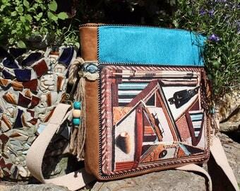 Colorful ethnic turquoise bag hippie boho womens bag ethnic pattern gypsy summer handbag bohemian bag gift for girlfriend cross body bag