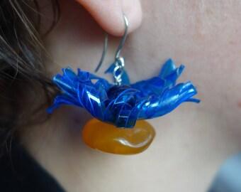 Silver earrings, amber earrings, lapis lazulis, recycled earrings earrings.