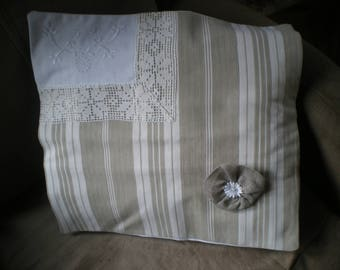 ticking and vintage embroidery pillow cover