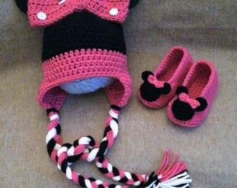 Crochet Minnie Mouse hat, Minnie mouse slippers, Minnie mouse, minnie mouse set, baby shower gift,