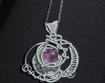 "Pendant ""Two moons and its Amethyst"""