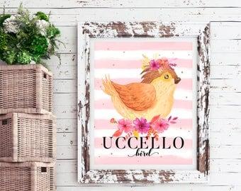 Bird print, printable bird, woodland nursery decor girl, nursery wall art signs, woodland animals, baby girl wall print, printable home deco