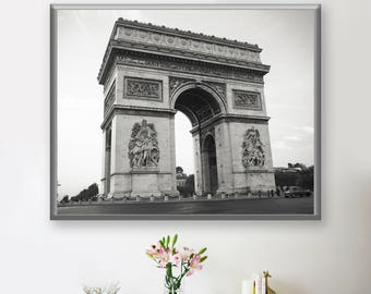 Arc de Triomphe Photograph, Black and White, Original Print, Original Photography, Poster
