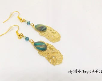 Drop Earrings Gold Peacock Pearl