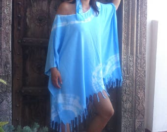 large blue fringe poncho pinafore hand painted