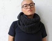 Charcoal gray crochet hooded infinity scarf cowl unisex gray hooded cowl infinity scarf black owned winter accessories gift for him