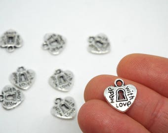 10x Heart 'made with love' padlock charm