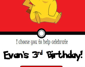 Simple Pikachu Pokemon Birthday Invitation