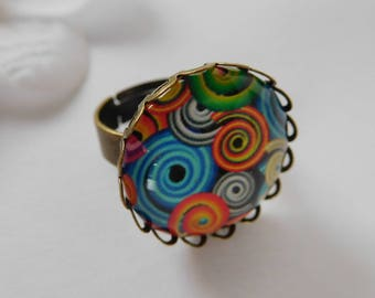 Multicolored toned bronze cabochon 20 mm Adjustable ring