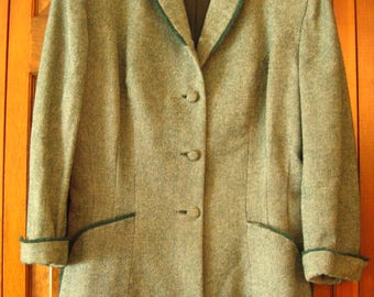 Vintage Green Tweed Jacket Blazer – Size Med.