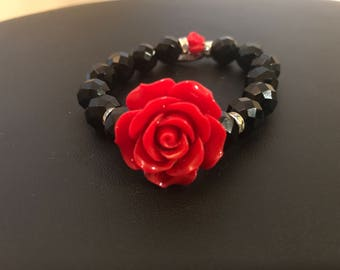 Red rose with black beads - Maya