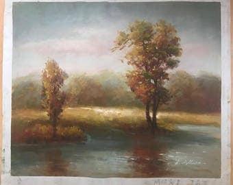 Original landscape painting. Cosy woodland hammock-esc.