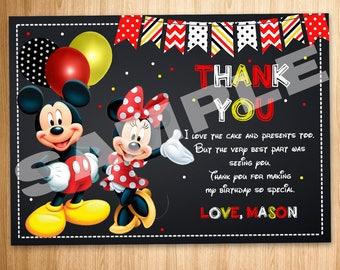Mickey and Minnie Mouse Birthday Party Printable Thank You Card