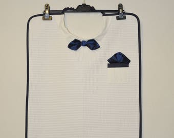 Adult bib with bow tie Blue Navy mens