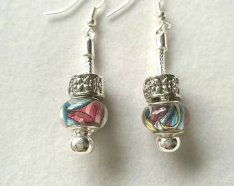 Earrings multicolored pink and blue