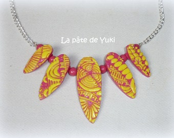 Necklace drop yellow and pink handmade polymer clay