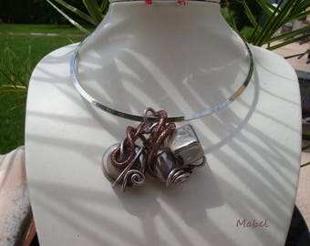 Necklace taupe and Brown Choker silver, wedding