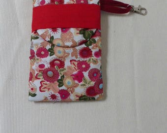 case cell phone, phone, smartphone case, i phone or sunglasses, floral cotton padded, with lobster clasp