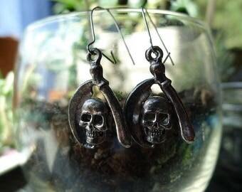 Vintage 80's Skull and Scythe Earrings