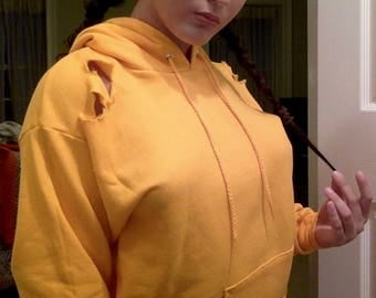 Yellow Distressed Hoodie