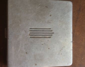 Silver powder compact, square 1930's Rare
