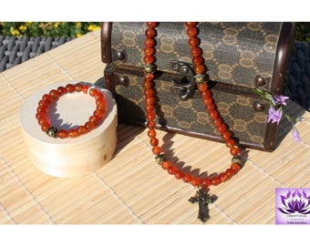 Carnelian necklace bracelet set