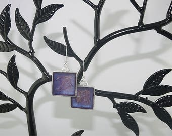 EARRINGS square 925 Silver purple and pink