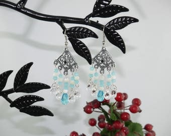 EARRINGS style BOHEMIAN Blue Crystal and mother of Pearl