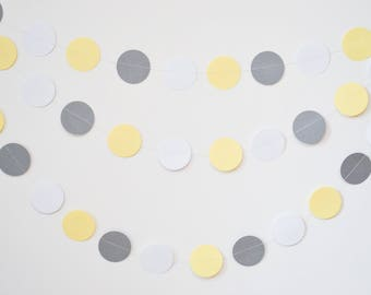 yellow gray garland, gray yellow banner, gender neutral baby shower, wedding garland, circle garland, yellow gray wedding, wedding decor