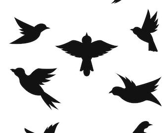 Wall decals sticker decor kids print A3 birds ref 329