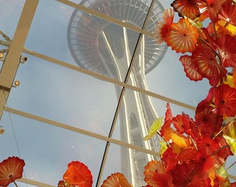 Space Needle thur glass
