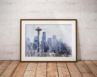 Seattle skyline Print, Seattle Drawing, Seattle Poster, Seattle Sketch, Skyline Art, Cityscape Art, Wall Art, Travel Poster, Landscape Art