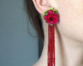 """Embroidered earrings unique, made entirely by hand, """"Heat"""""""