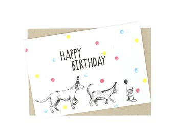 Birthday Card - Dog, cat and mouse