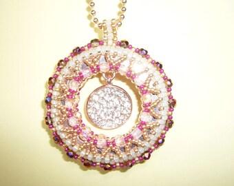 Woven pendant set hands with Swarovski Crystal