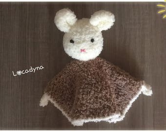 Amigurumi Crochet blanket - Wool Polyester - off white and Beige-all soft room of child-birthday gift - handmade - My Name is Bunny
