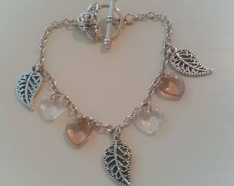 beaded silver leaf charms and beads heart - romantic style - gift idea for woman - women jewelry