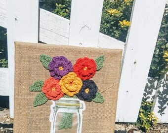 Crochet Flowers on Burlap Wrapped Frame - Crochet Wall Art - Autumn Flowers Crochet Wall Art
