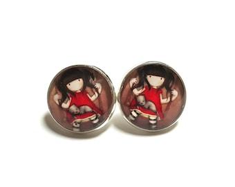 Stud Earrings girl cat swing childhood fairy tales earrings